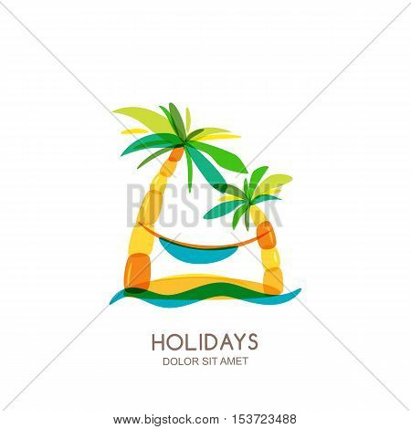 Vector Logo Design Template. Abstract Colorful Island, Palms And Hammock On Seaside.