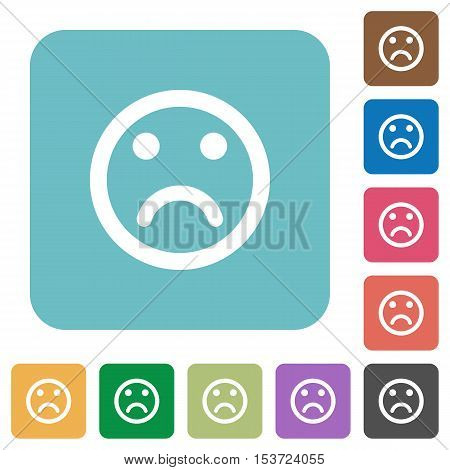 Sad emoticon white flat icons on color rounded square backgrounds