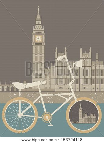 Vector illustration of the Great Bell of the clock at the north and of the Palace of Westminster and vintage bicycle. Vector image about Travel & Healthy Lifestyle.