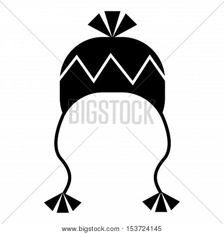 Winter hat with tassels icon. Simple illustration of winter hat with tassels vector icon for web