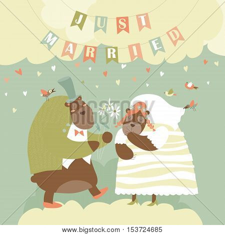 Two Lovely Bears. Just Married. Vector illustration