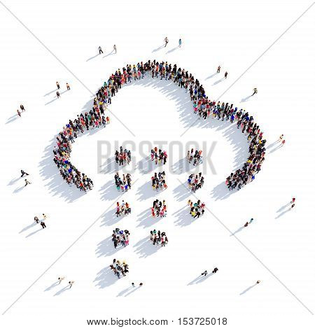 Large and creative group of people gathered together in the shape of a cloud, weather phenomena. 3D illustration, isolated against a white background. 3D-rendering.