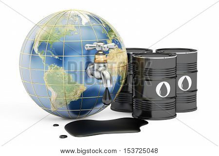 Earth globe squeezing oil through a tap 3D rendering isolated on white background