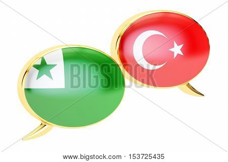 Speech bubbles Turkish-Esperanto conversation concept. 3D rendering