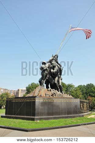 WASHINGTON DC - AUG 10, 2010: Flags of Our Fathers. The famous Iwo Jima memorial in Arlington, Virginia, USA.
