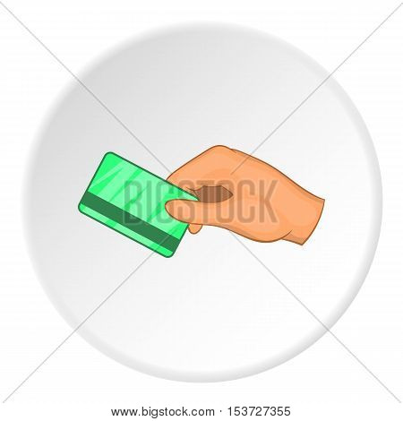 Hand with hotel room key card icon. Cartoon illustration of hand with hotel room key card vector icon for web