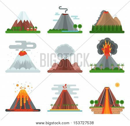Volcano magma nature blowing up with smoke vector isolated. Crater mountain volcano hot natural eruption nature. Volcano erupt ash fire hill landscape outdoor geology exploding ash.
