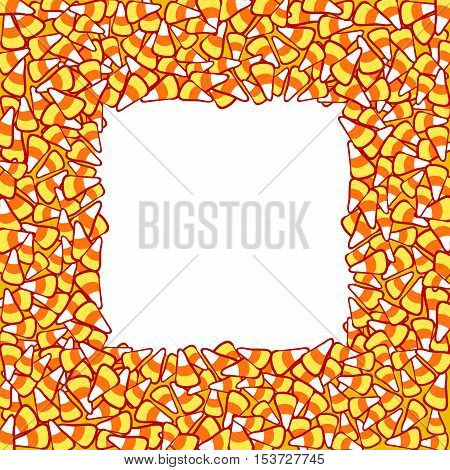 Candy corn frame, isolated on white. Halloween vector clip-art. Hand drawn sketchy background, October 31 design element for halloween party invitation card