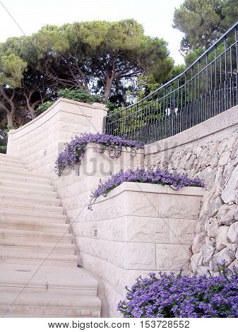 The stone staircase in Bahai Gardens in Haifa August 11 2003