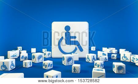 Disabled Signs Rendering 3D Illustration, 3D Disabled Symbol for World Disabled Day