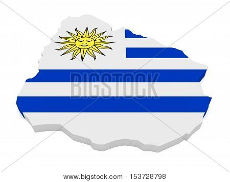 3d Illustration of Uruguay Map With Uruguayan Flag Isolated On White Background