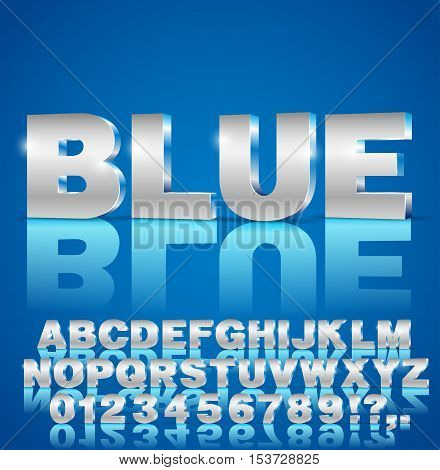 Blue metal style 3d isometric vector extruded font set. Letters and numbers