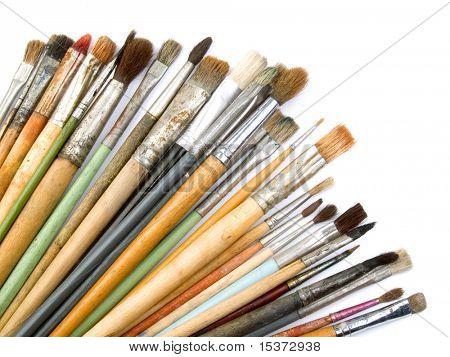 Artist brushes isolated on white