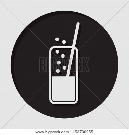 information icon - black circle white glass with carbonated drink and straw and shadow