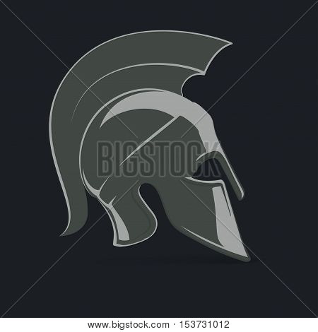 Antiques Roman or Greek helmet for head protection soldiers with a crest of feathers or horsehair with slits for the eyes and mouth vector illustration