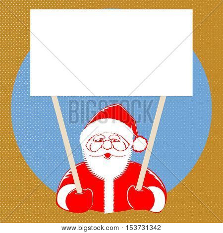 Vector illustration Santa Claus comic style design with jolly plump in red cap on dotted background, holding blank isolated for text for your creativity. Retro style pop art