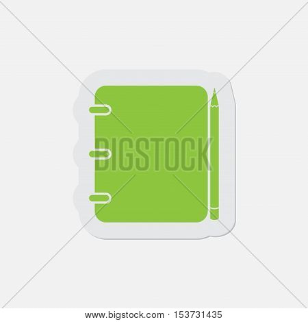 simple green icon with light gray contour and shadow - spiral binding notepad and pencil on a white background