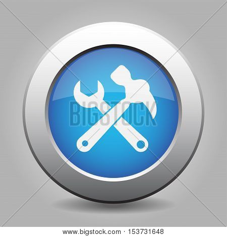 Blue metallic button with shadow. White claw hammer with spanner icon.