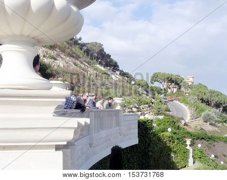 Visitors in Bahai Gardens in Haifa December 15 2003