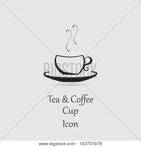 Greyscale Icon of Cup with Hot Beverage and Lettering