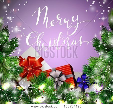Christmas New Year design background with christmas garland gift boxes and snow. Vector illustration, Cristmas tree and Handwritten Merry Christmas