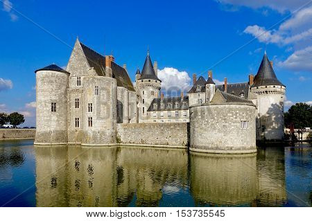 Sully-sur-Loire, France, October 11, 2016: The castle Sully-sur-Loire in France.