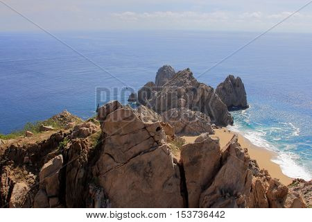 This is a bird's eye view from Mount Solmar. After hiking to the top we were rewarded with this spectacular view of divorce beach, Land's End with the ocean's infinity.