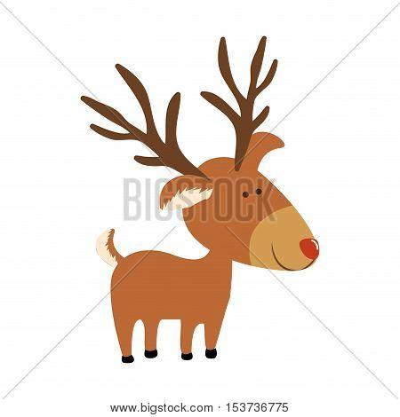 red nose rudolph deer cartoon icon image vector illustration design