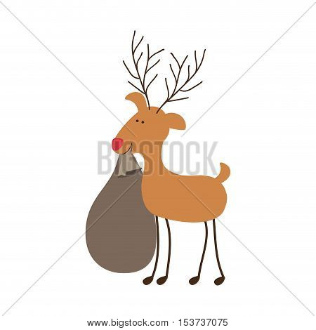 rudolph reindeer holding gift christmas icon image vector illustration