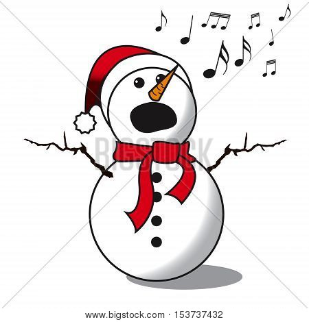 Snowman singing -choir christmas carol isolated on white background