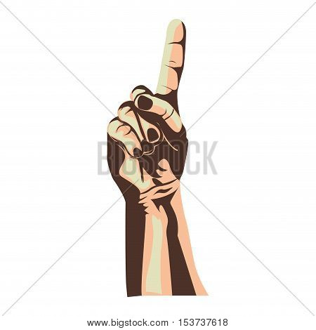 index finger up hand gesture icon image vector illustration