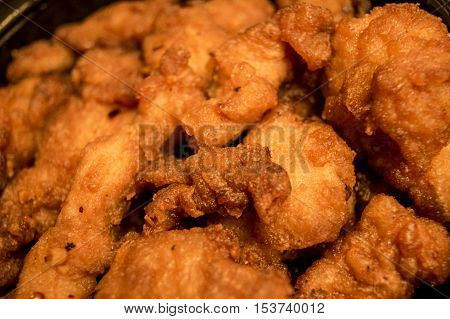 Golden Fried breaded chicken ready to coat or mix with sauces as used for general Tao Chicken Crispy Chicken Pineapple Chicken or Korean dishes