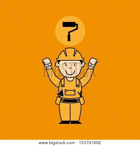 avatar man construction worker with roller paint icon vector illustration