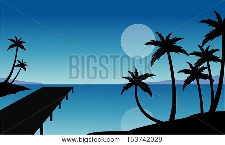 Silhouette of palm and pier scenery vector flat
