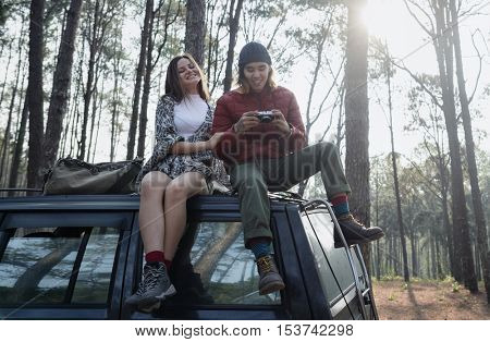 Backpacker Couple Travel Adventure Happiness Concept