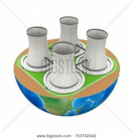 Half Globe with Nuclear Power Plant isolated on white background. 3D render
