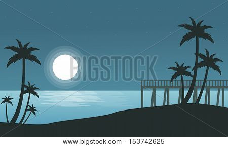 Silhouette of seaside with moon landscape vector illustration