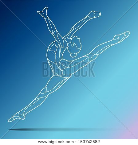 Trendy stylized illustration movement, curly gymnastics, acrobatics, line art vector silhouette of curly gymnastics, isolated on gradient background