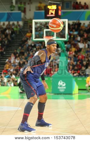 RIO DE JANEIRO, BRAZIL - AUGUST 10, 2016: Olympic champion Carmelo Anthony of Team USA in action at group A basketball match between Team USA and Australia of the Rio 2016 Olympic Games