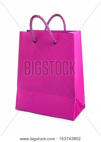 Pink shopping bag isolated on a white background