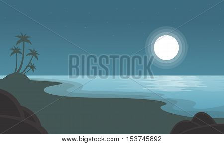 Beach with moon scenery of silhouettes vector illustration