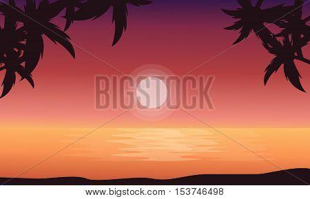 At sunrise beach scenery of silhouettes vector flat
