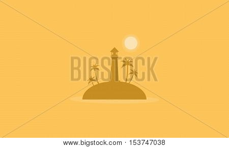 Silhouette of island and sun style scenery vector flat