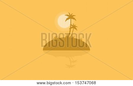 Silhouette of islands with reflection vector illustration