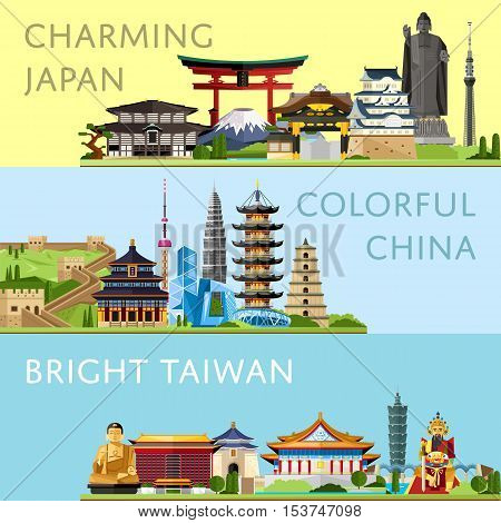 Worldwide travel horizontal flyers with famous architectural attractions. Charming Japan. Colorful China. Bright Taiwan. Discover world concept. Historical cityscape. Modern and ancient architecture