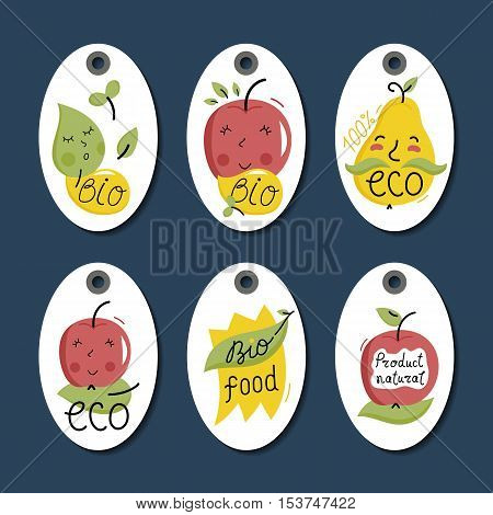 Eco and bio food labels set isolated on blue background. Natural farm products price tags for organic foods shop, vegan cafe, restaurant, eco bar. Healthy eating concept. Eco friendly products