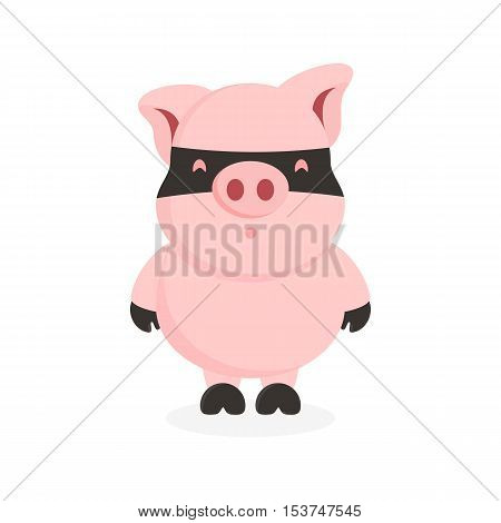 cute pink pig character with mask in his face