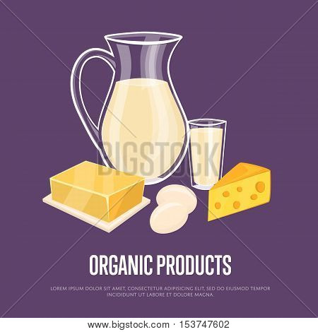 Organic products banner with dairy assortment composition on perpl background, vector illustration. Nutritious and healthy products. Organic farming. Natural and healthy food.