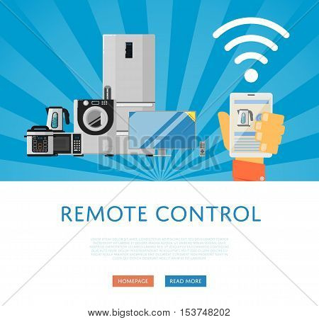 Remote control for household appliances concept. Smart home automation system, smart house control panel on mobile device. Internet of things banner. Iot comfort. Smartphone remote control.