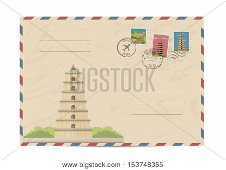 China vintage postal envelope with postage stamps and postmarks on white background, isolated vector illustration. Chinese ancient pagoda. Air mail stamp. Postal services. Envelope delivery.